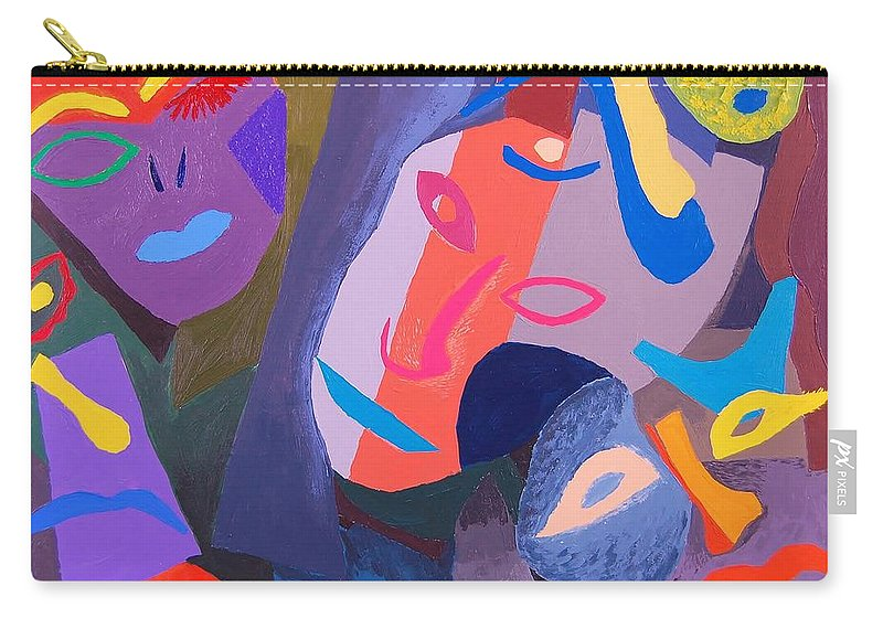 Faces Carry-all Pouch featuring the painting Faces II by Charla Van Vlack