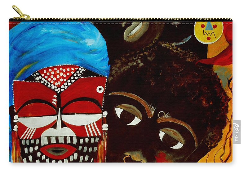 Abstract Carry-all Pouch featuring the painting Faces Of Africa by Ruth Palmer