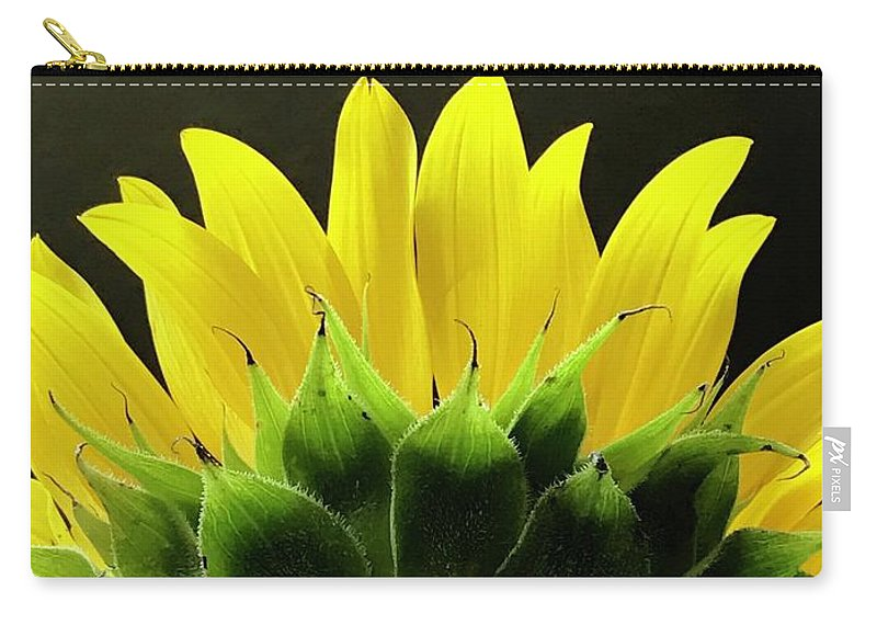 Sunflower Carry-all Pouch featuring the photograph Facing The Dark by Mesa Teresita