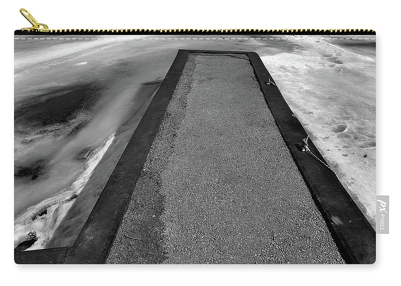 Black And White Carry-all Pouch featuring the photograph Fading Winter Two by Lyle Crump