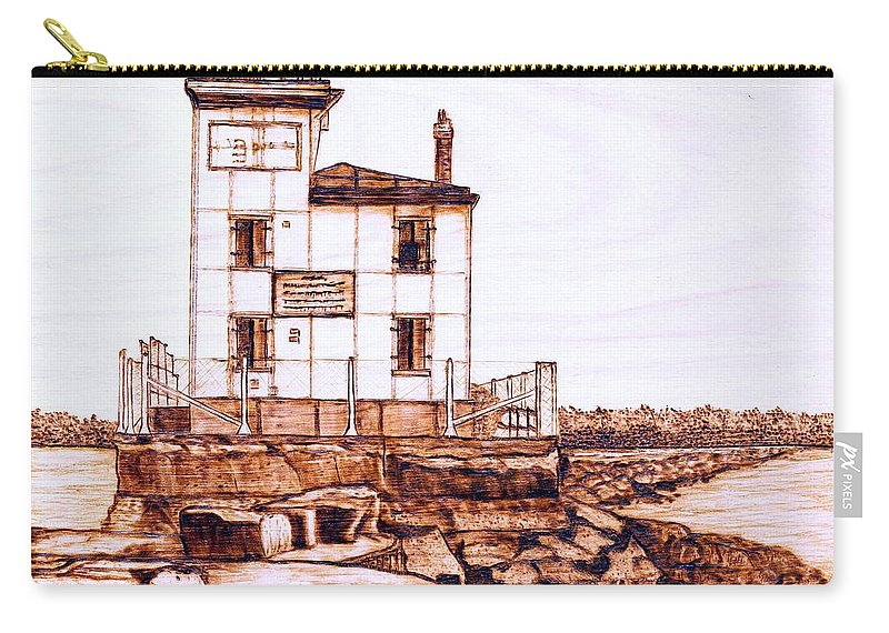 Lighthouse Carry-all Pouch featuring the pyrography Fair Port Harbor by Danette Smith