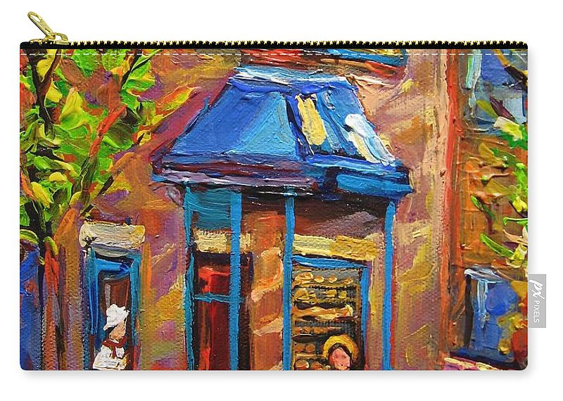 Fairmount Bagel Carry-all Pouch featuring the painting Fairmount Bagel Fairmount Street Montreal by Carole Spandau