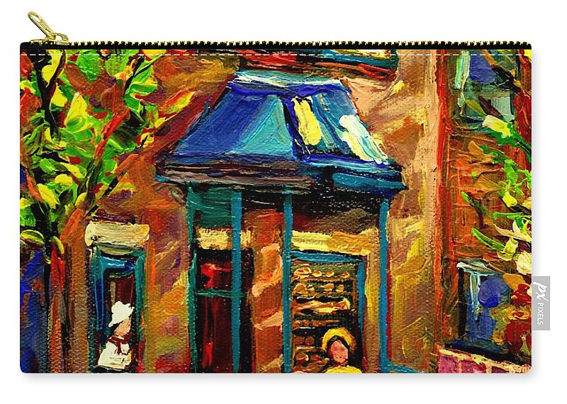 Fairmount Bagel Carry-all Pouch featuring the painting Fairmount Bagel In Montreal by Carole Spandau