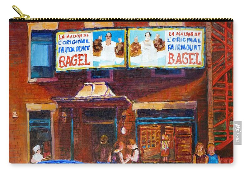 Fairmount Bagel Carry-all Pouch featuring the painting Fairmount Bagel With Blue Car by Carole Spandau