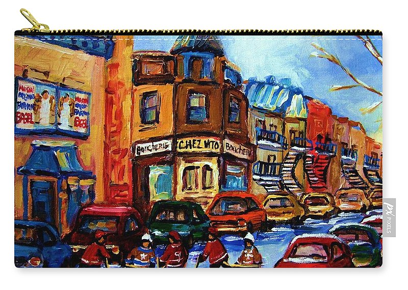 Hockey Carry-all Pouch featuring the painting Fairmount Bagel With Hockey Game by Carole Spandau
