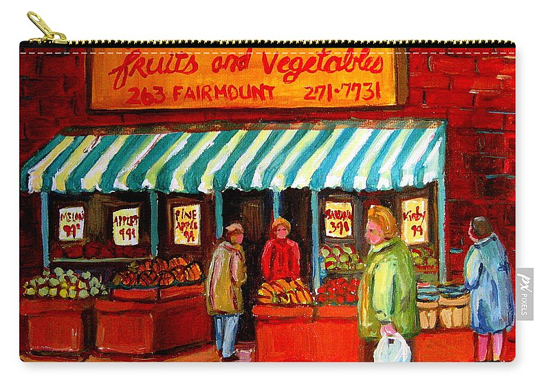 Fairmount Fruits And Vegetables Carry-all Pouch featuring the painting Fairmount Fruit And Vegetables by Carole Spandau