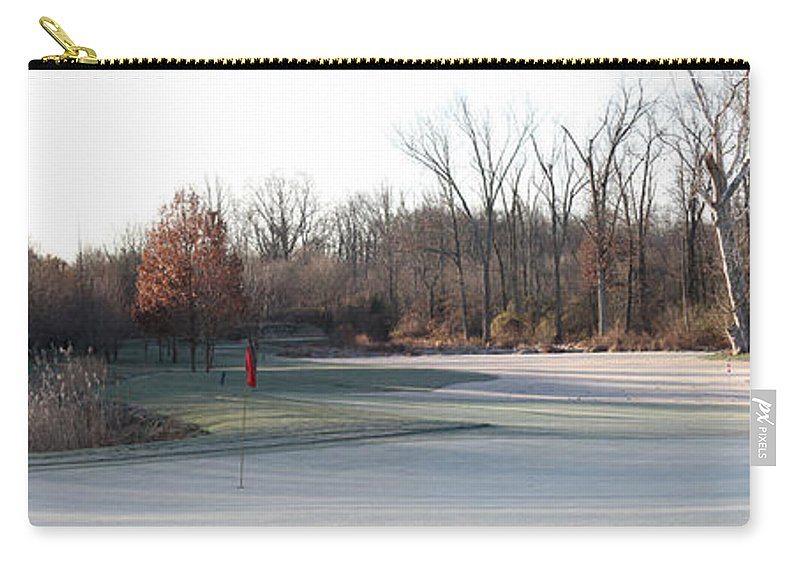 Fairway Carry-all Pouch featuring the photograph Fairway Hills - 7th - Beware Of The Tree And The Pond Panorama by Ronald Reid