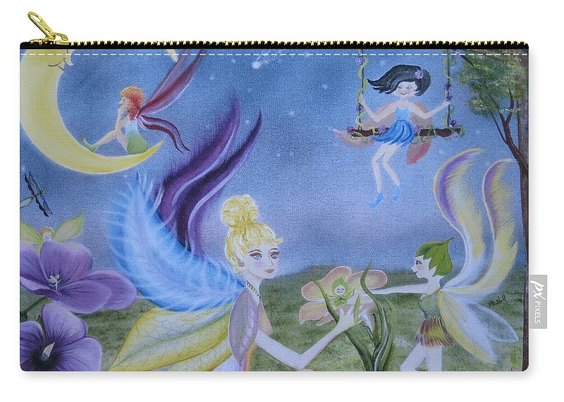Fairies Carry-all Pouch featuring the painting Fairy Play by RJ McNall