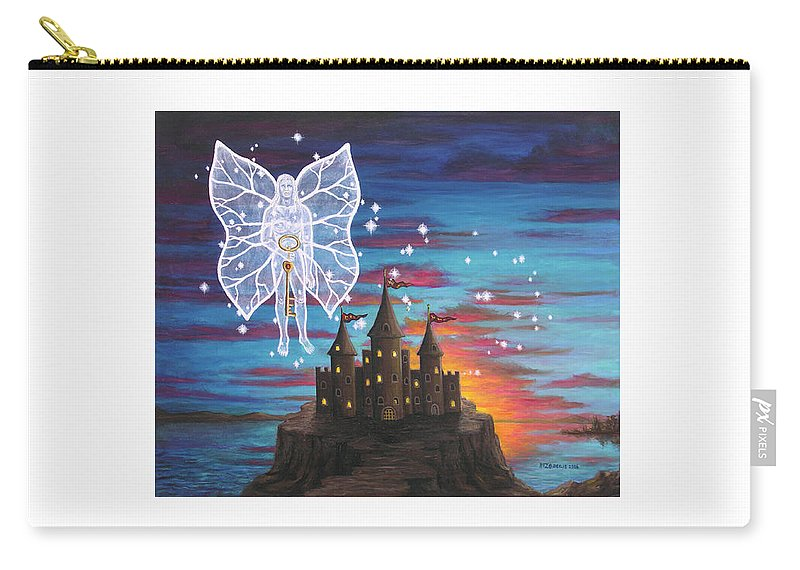 Fantasy Carry-all Pouch featuring the painting Fairy Takes The Key by Roz Eve