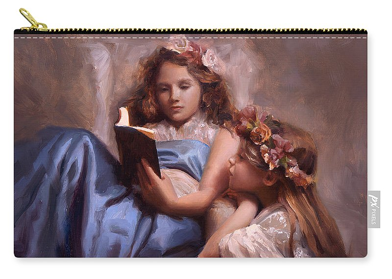 Painting Of Girls Reading Carry-all Pouch featuring the painting Fairytales And Lace - Portrait Of Girls Reading A Book by Karen Whitworth