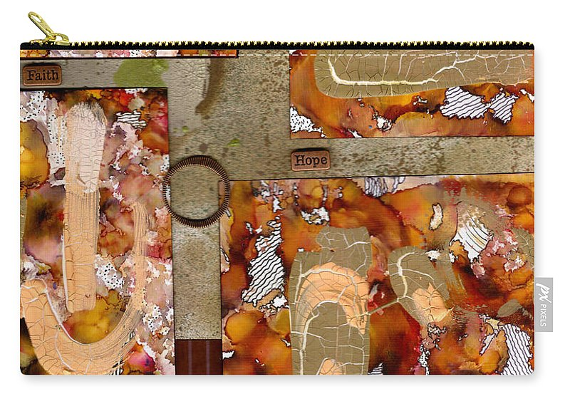 Wood Carry-all Pouch featuring the mixed media Faith Hope Love by Angela L Walker