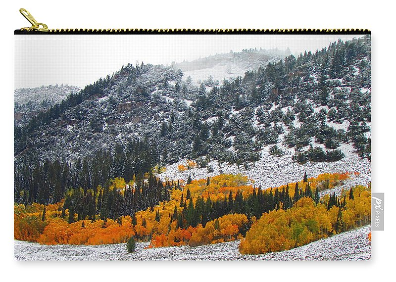 Fall Carry-all Pouch featuring the photograph Fall And Winter Collide by Carol Dyer