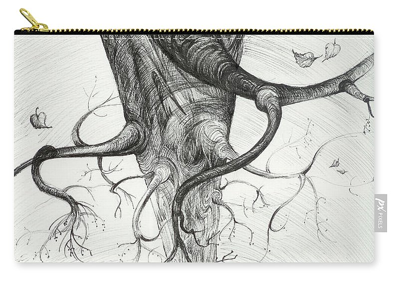 Pen And Ink Carry-all Pouch featuring the drawing Fall by Anna Duyunova