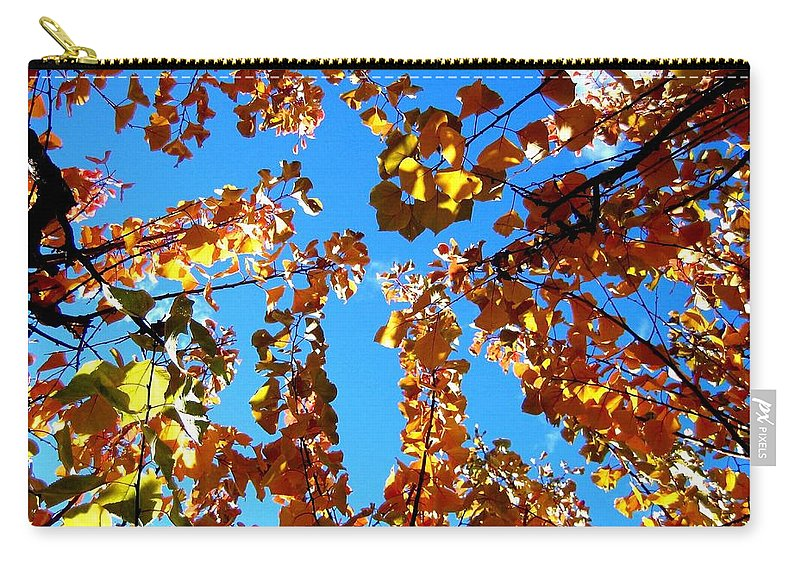 Apricot Leaves Carry-all Pouch featuring the photograph Fall Apricot Leaves by Will Borden