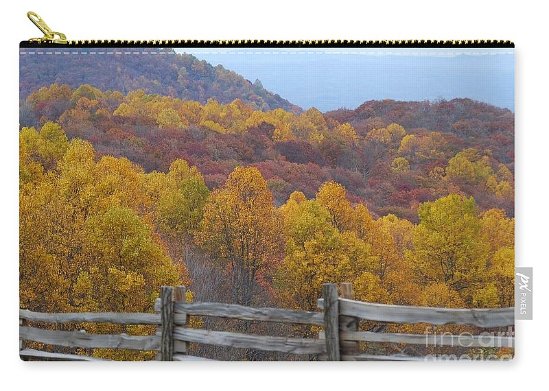 Fence Carry-all Pouch featuring the photograph Fall Blend by Eric Liller