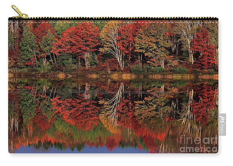 Dave Welling Carry-all Pouch featuring the photograph Fall Color Reflected In Thornton Lake Michigan by Dave Welling