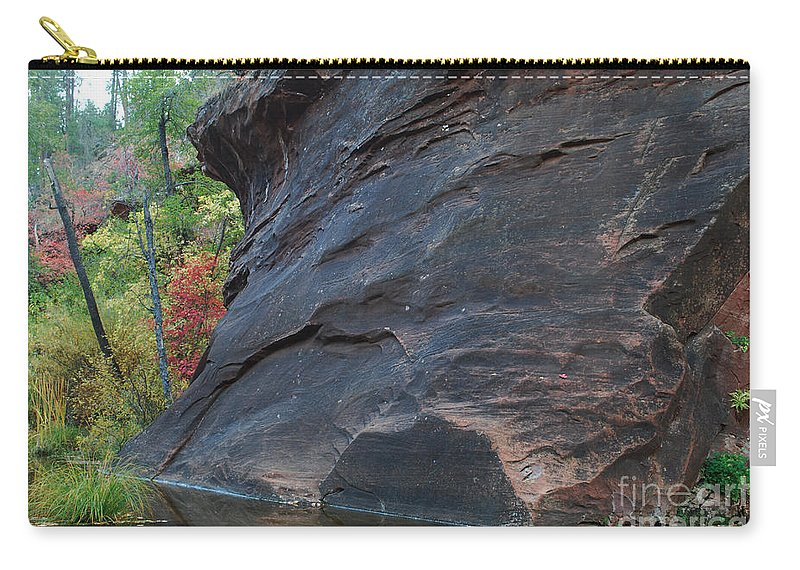 Photo Carry-all Pouch featuring the photograph Fall Colors Peek Around Mountain Horizontal Number 1 by Heather Kirk