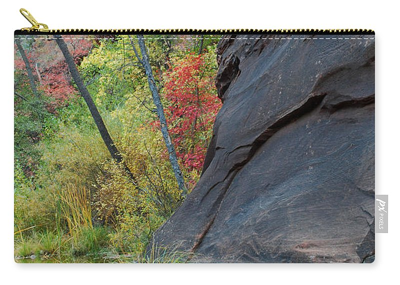 Landscape Carry-all Pouch featuring the photograph Fall Colors Peek Around Mountain Vertical by Heather Kirk