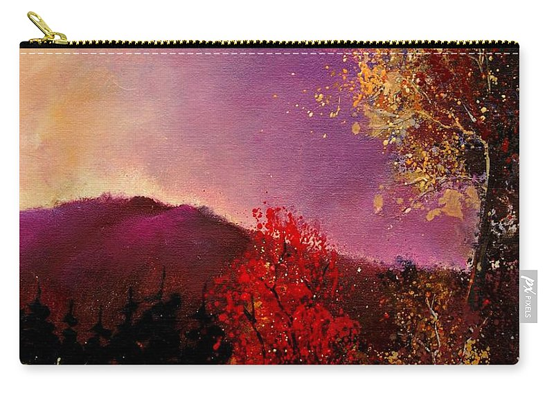 River Carry-all Pouch featuring the painting Fall Colors by Pol Ledent