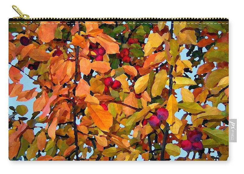 Autumn Carry-all Pouch featuring the digital art Fall Crab Apples by Will Borden