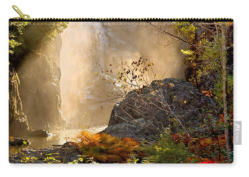 Fall Carry-all Pouch featuring the photograph Fall Falls Mist Dead River Falls Marquette MI by Michael Bessler