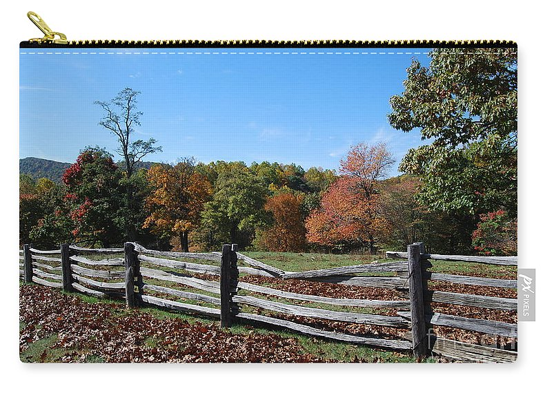 Rural Carry-all Pouch featuring the photograph Fall fence by Eric Liller