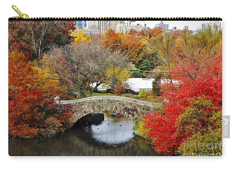 Autumn New York City Carry-all Pouch featuring the photograph Fall Foliage In Central Park by Nishanth Gopinathan