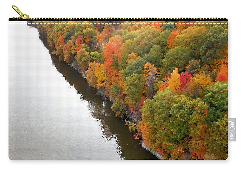 Fall Foliage In Hudson River Carry-all Pouch featuring the painting Fall Foliage In Hudson River 10 by Jeelan Clark