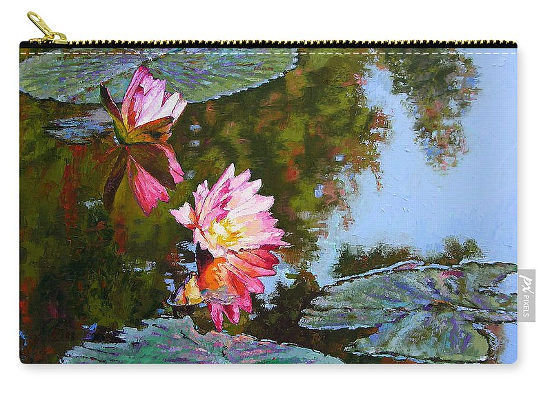 Water Lily Carry-all Pouch featuring the painting Fall Glow by John Lautermilch