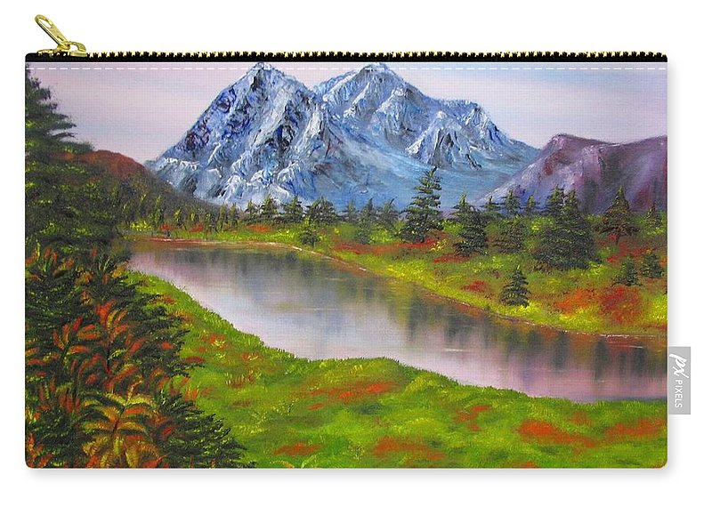 Fall Carry-all Pouch featuring the painting Fall In Mountains Landscape Oil Painting by Natalja Picugina