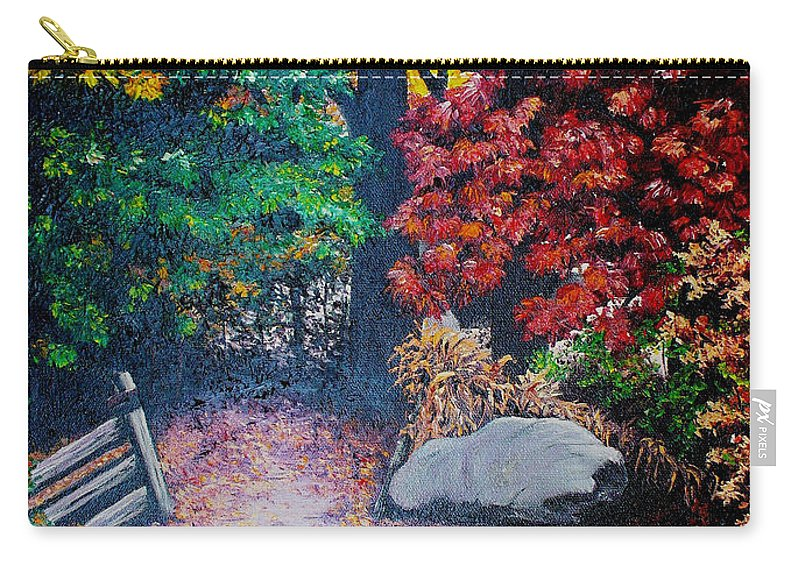 A N Original Painting Of An Autumn Scene In The Gateneau In Quebec Carry-all Pouch featuring the painting Fall In Quebec Canada by Karin Dawn Kelshall- Best