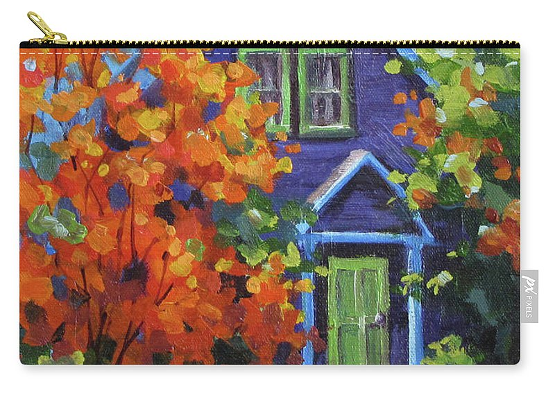 Color Carry-all Pouch featuring the painting Fall In The Neighborhood by Karen Ilari