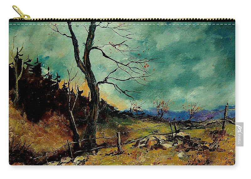 Tree Carry-all Pouch featuring the painting Fall Landscape 56 by Pol Ledent