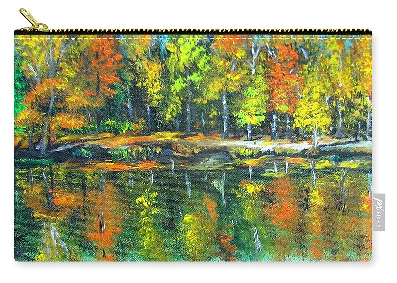 Fall Carry-all Pouch featuring the painting Fall Landscape Acrylic Painting Framed by Natalja Picugina