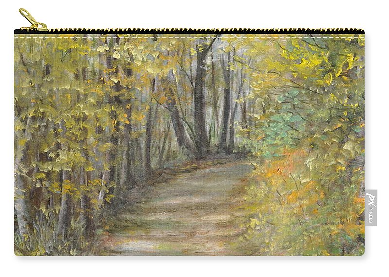Fall Scene Painting For Sale Carry-all Pouch featuring the painting Fall Lane by Penny Neimiller