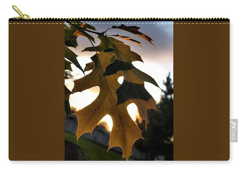 Fall Leaf Carry-all Pouch featuring the pyrography Fall Leaf by Amber Carpenter