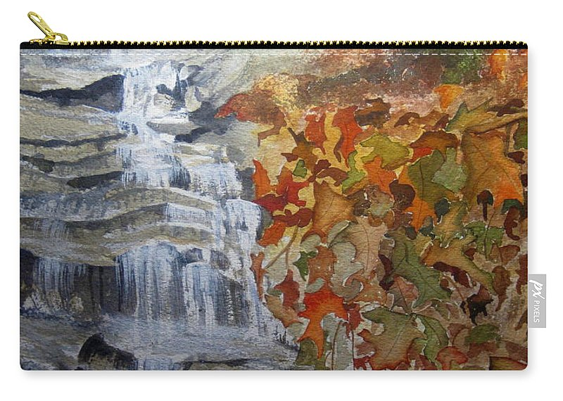 Water Fall Carry-all Pouch featuring the painting Fall Leaves by Julia RIETZ