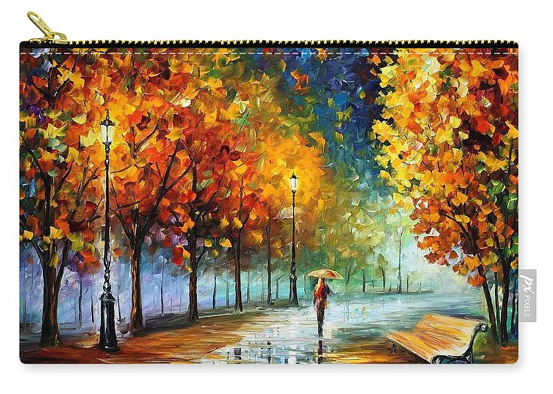Afremov Carry-all Pouch featuring the painting Fall Marathon by Leonid Afremov