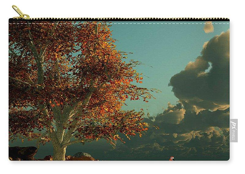 Fall Ocean Scene Carry-all Pouch featuring the digital art Fall Ocean Scene by John Junek
