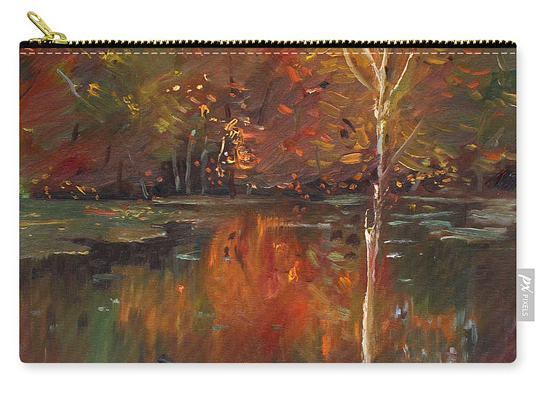 Landscape Carry-all Pouch featuring the painting Fall Reflection by Ylli Haruni