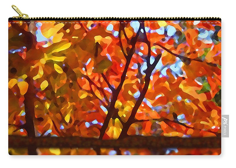 Trees Carry-all Pouch featuring the painting Fall Reflextion by Amy Vangsgard