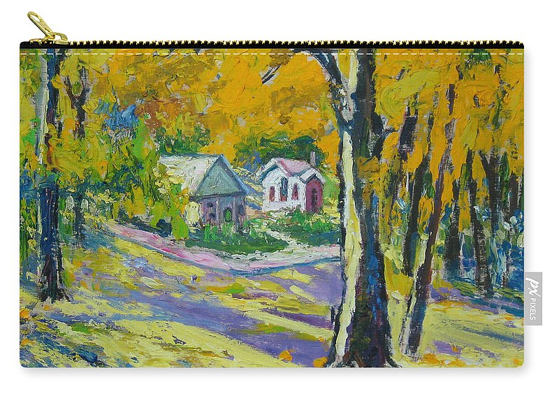 Trees Carry-all Pouch featuring the painting Fall Scenery by Meihua Lu
