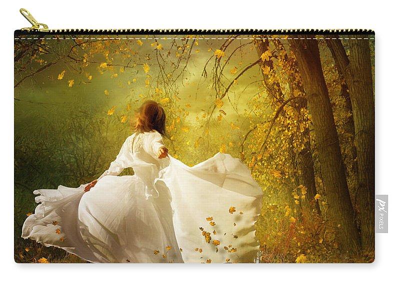 White Carry-all Pouch featuring the digital art Fall Splendor by Karen Koski