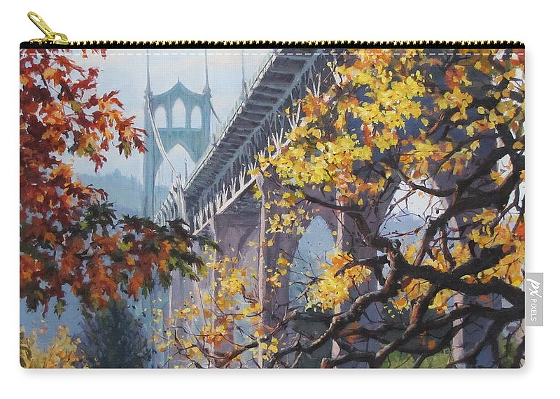 Portland Carry-all Pouch featuring the painting Fall St Johns by Karen Ilari