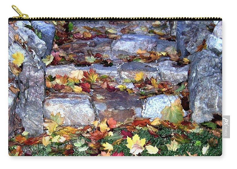 Rock Stairway Carry-all Pouch featuring the photograph Fall Stairway by Will Borden