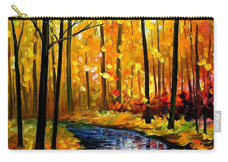 Afremov Carry-all Pouch featuring the painting Fall Stream by Leonid Afremov