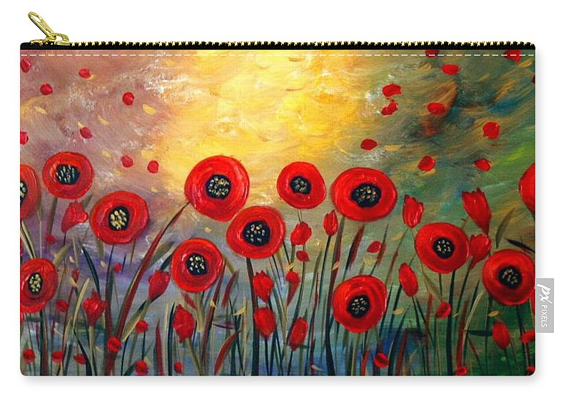 Flowers Carry-all Pouch featuring the painting Fall Time Poppies by Luiza Vizoli