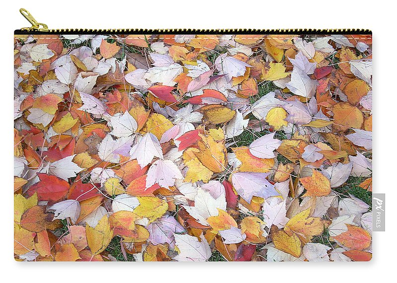 Photography Fall Autum Leaves Carry-all Pouch featuring the photograph Fallen Fantasy by Karin Dawn Kelshall- Best