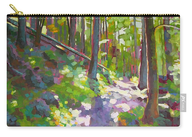 Landscape Carry-all Pouch featuring the painting Fallen Log by Mary McInnis