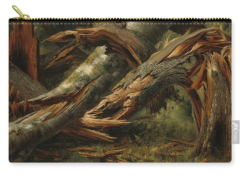 Alexandre Calame Carry-all Pouch featuring the painting Fallen Tree by Alexandre Calame